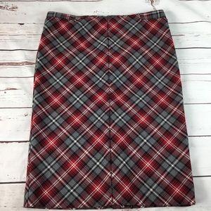 Plaid Pencil Skirt Red,Black,Gray Size 3